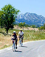 Cycling along the base of the Alpilles near St.-Remy-de-Provence, France